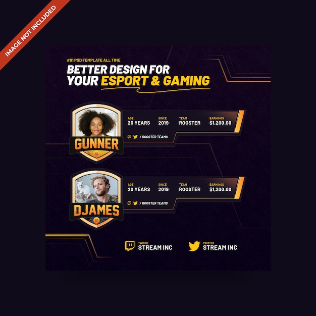 Esport & gaming psd quadratische banner vorlage Premium PSD