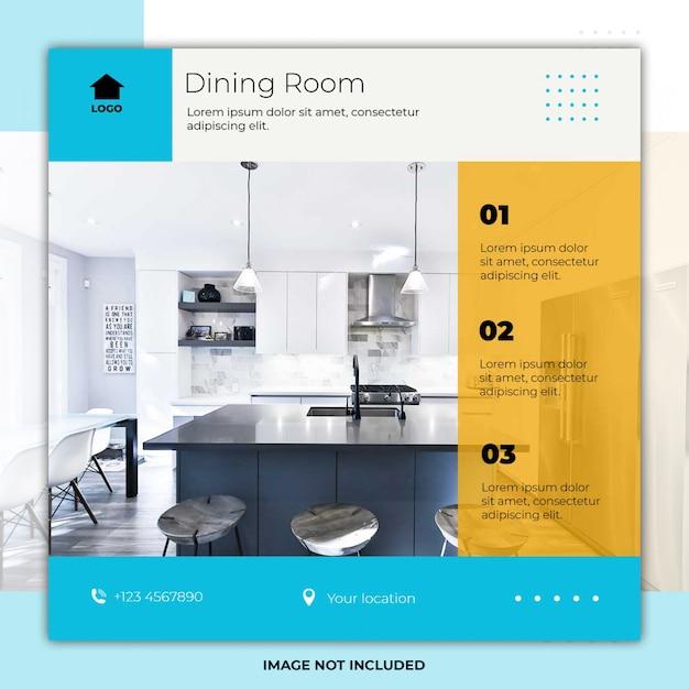 Esszimmer design social media post flyer Premium PSD