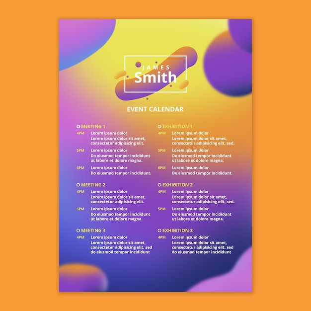 Event kalendervorlage mit fließendem hintergrund Kostenlosen PSD