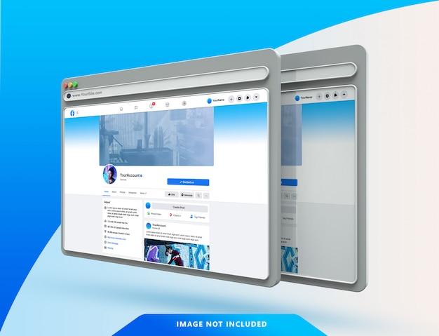 Facebook ui-vorlage auf 3d-webbrowser-modell Premium PSD