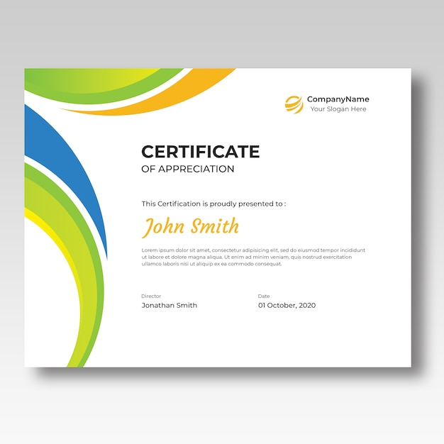 Farbige zertifikat-entwurfsvorlage Premium PSD