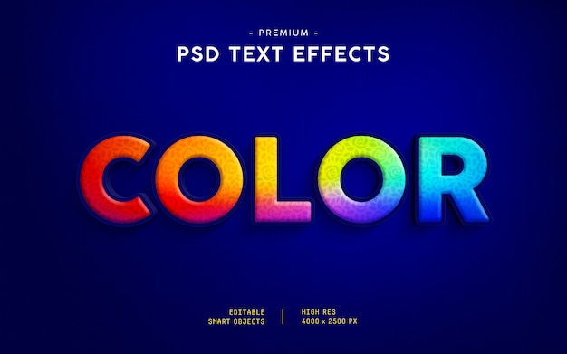 Farbtext-effekt Premium PSD