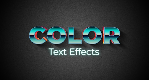 Farbtextstil-effektvorlage Premium PSD