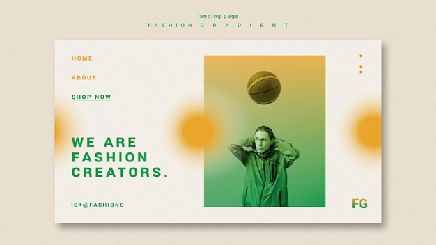 Fashion gradient homepage Premium PSD
