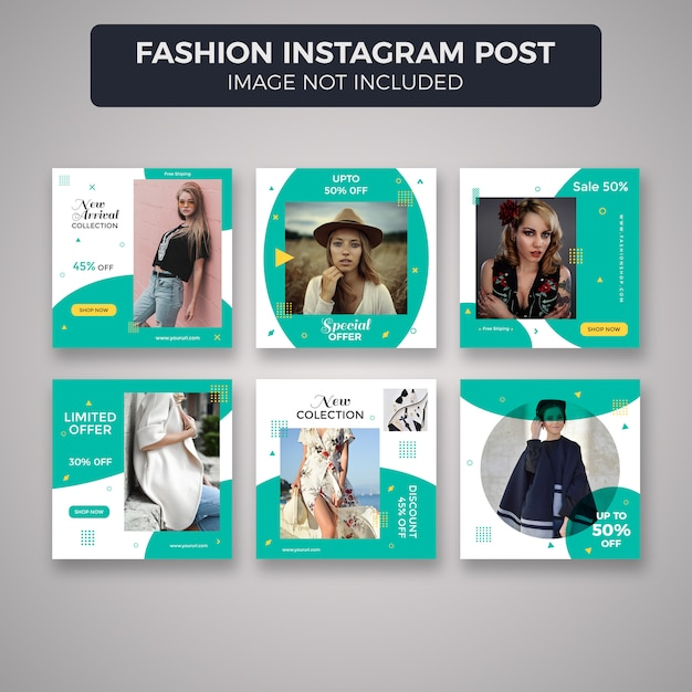 Fashion instagram post template-sammlung Premium PSD