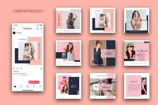 Fashion instagram post template-set und screenshot-modell Premium PSD
