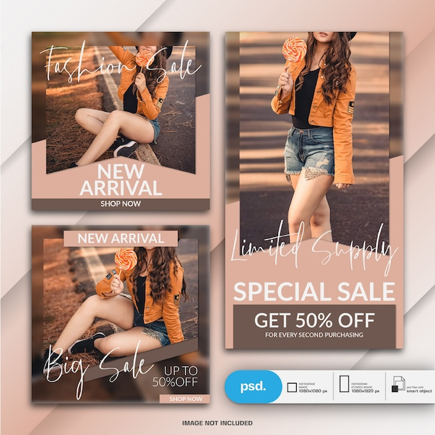 Fashion web banner vorlage für soziale medien Premium PSD