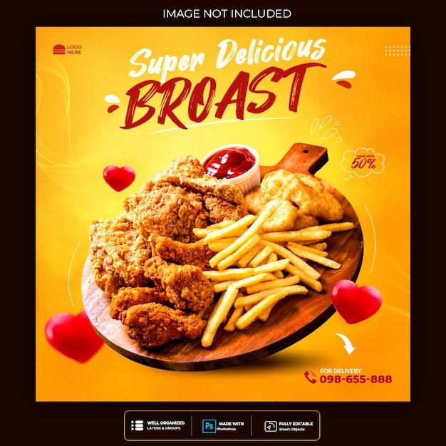 Fast food burger social media und instagram flyer Kostenlosen PSD