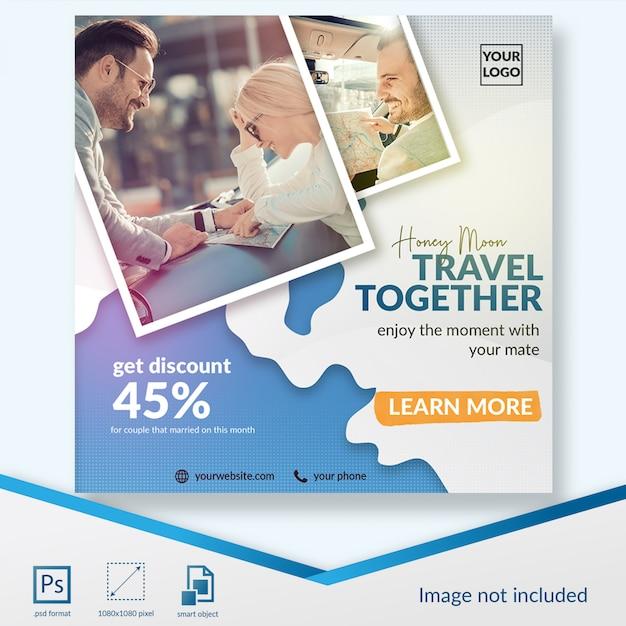 Feiertag, der zusammen social media-beitragsschablone reist Premium PSD