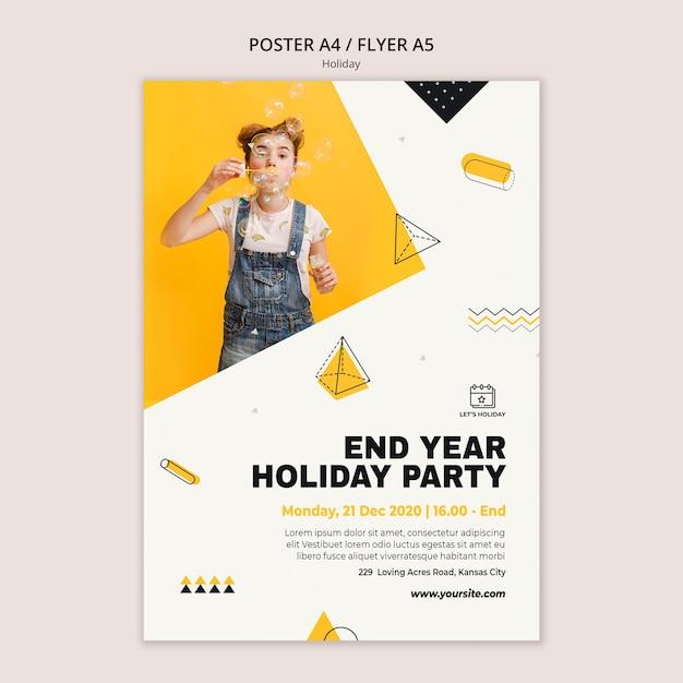 Feiertagsfeierplakatschablone Kostenlosen PSD
