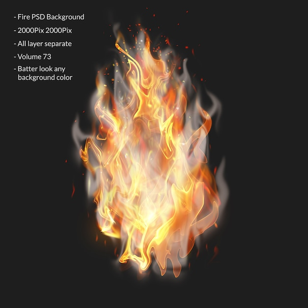 Feuerflammen isoliert auf transparent Premium PSD
