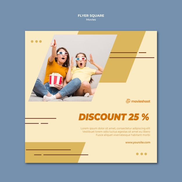 Filmzeit-quadrat-flyer-vorlage mit foto Kostenlosen PSD