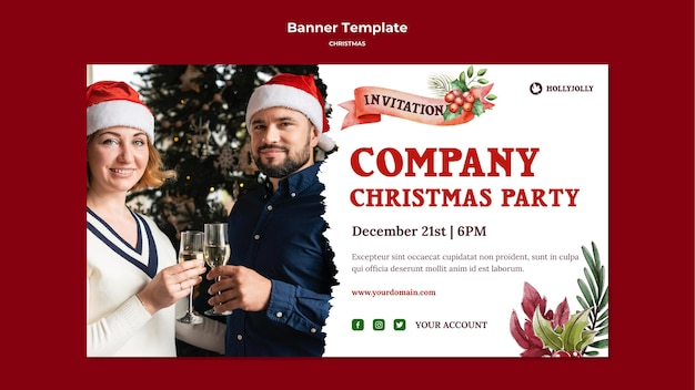 Firmenweihnachtsfeier-bannerschablone Kostenlosen PSD