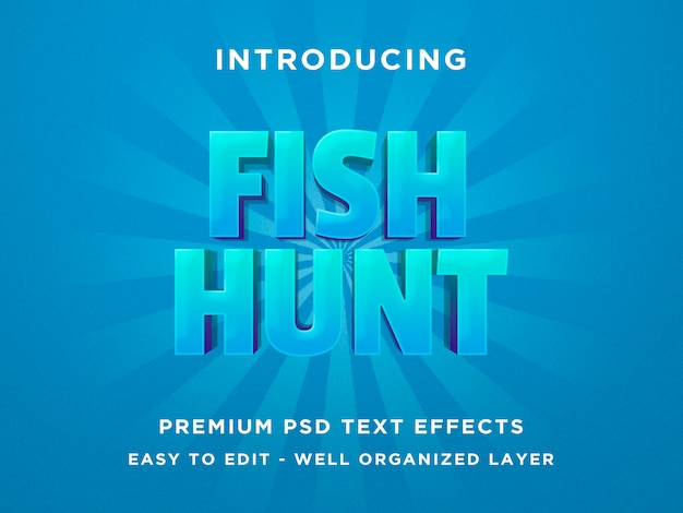 Fischjagd - effekt des text-3d Premium PSD