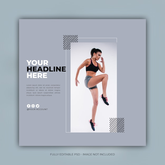 Fitness instagram post vorlage Premium PSD