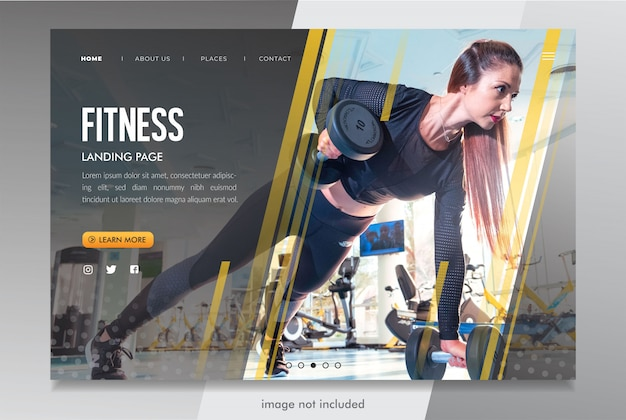 Fitness landing page website-modell psd Premium PSD