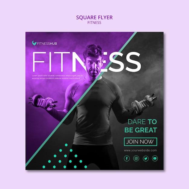 Fitness quadratische flyer vorlage Kostenlosen PSD