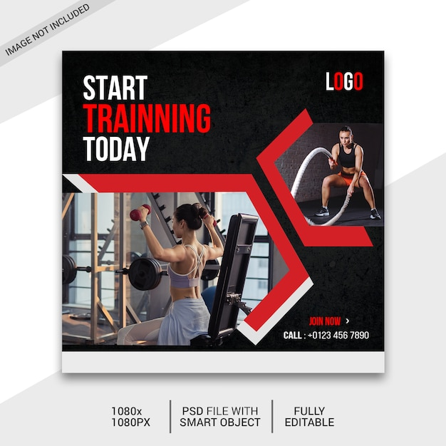 Fitness social media beitrag Premium PSD