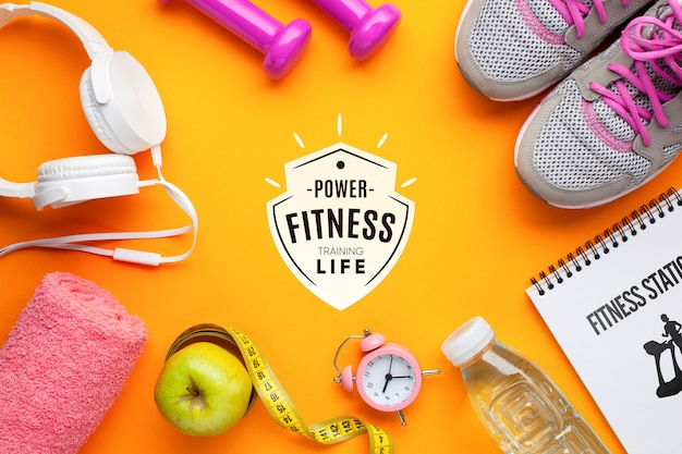 Fitnessgeräte und mock-up Kostenlosen PSD
