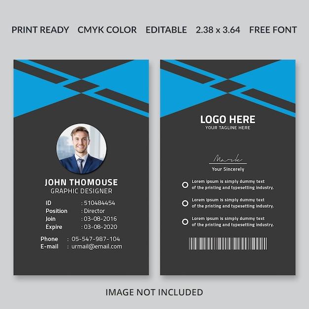 Flache id-kartenvorlage Premium PSD