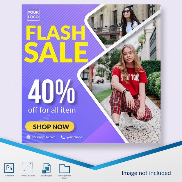 Flash sale mode rabatt angebot social media beitragsvorlage Premium PSD