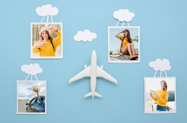 Flat lay reisekonzept mit fotos Kostenlosen PSD