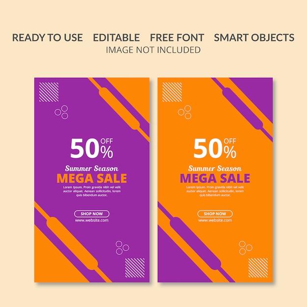Flat sale promotion banner set Premium PSD