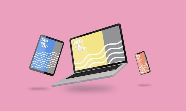 Fliegendes laptop-, telefon- und tablet-modell Premium PSD