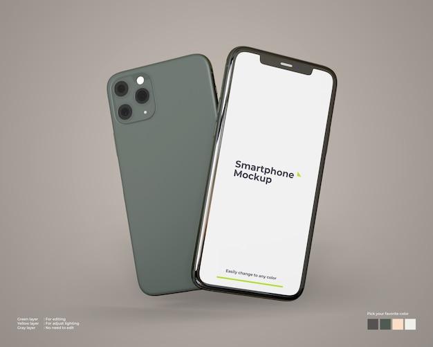 Fliegendes smartphone-modell Premium PSD