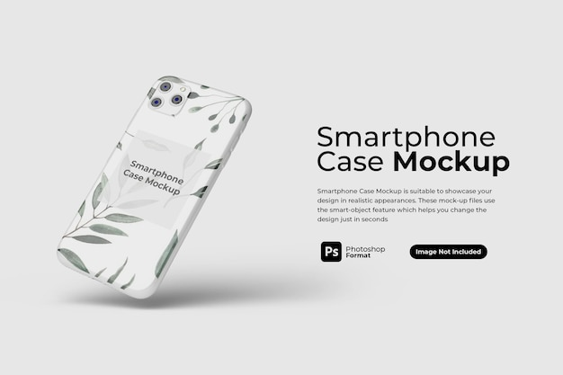Floating smartphone case mockup design isoliert Premium PSD
