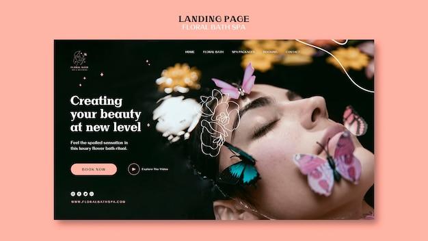 Floral spa landing page vorlage Kostenlosen PSD