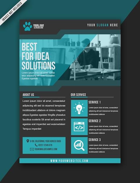 Flyer blau moderne bussiness broschüre - a3 größe Premium PSD