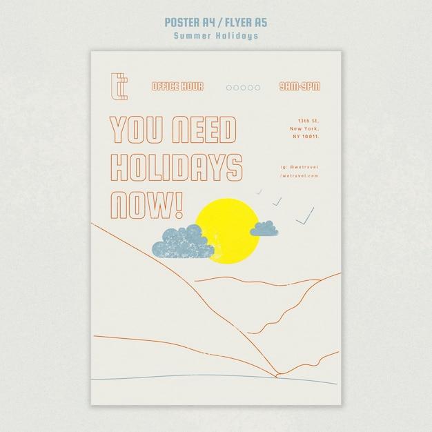 Flyer für die sommerferien Kostenlosen PSD