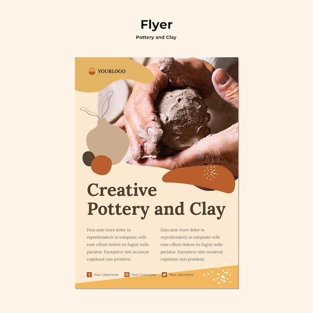 Flyer mit keramik- und tonschablonen Kostenlosen PSD