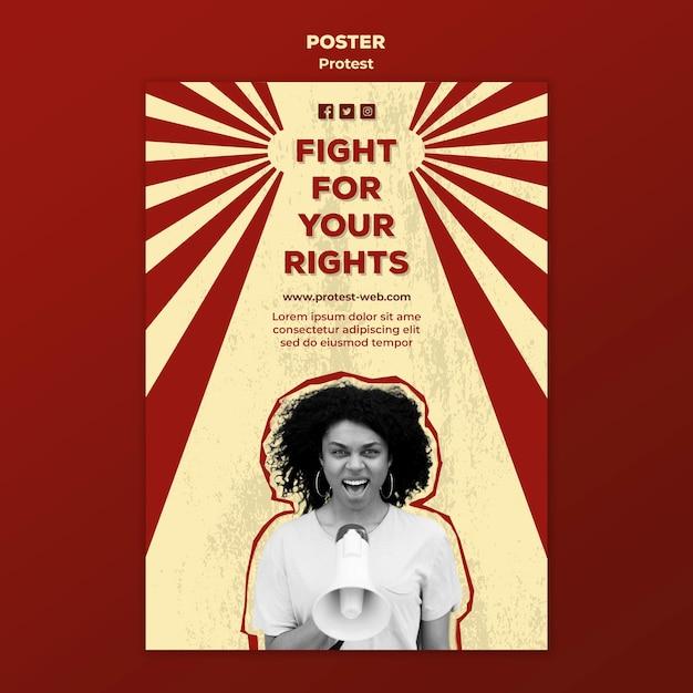 Flyer mit protest für menschenrechte Kostenlosen PSD