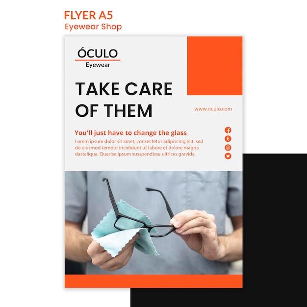 Flyer vorlage brillen shop konzept Kostenlosen PSD