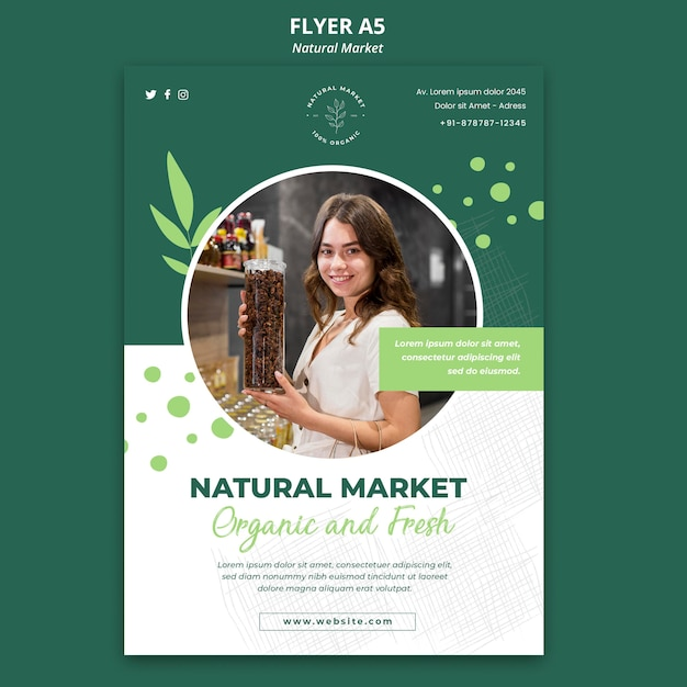 Flyer-vorlage für das natürliche marktkonzept Kostenlosen PSD
