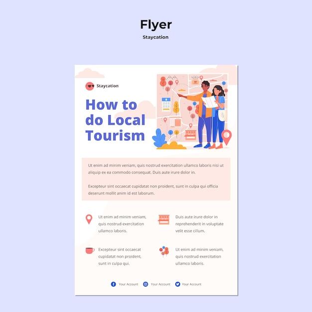 Flyer-vorlage für das staycation-konzept Kostenlosen PSD