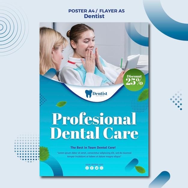 Flyer vorlage für die zahnpflege Kostenlosen PSD