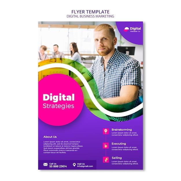 Flyer-vorlage für digitales geschäftsmarketing Premium PSD