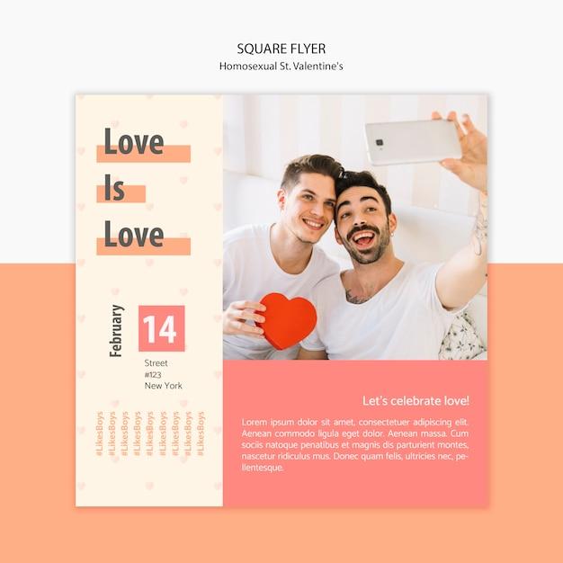 Flyer vorlage für homosexuelle st. valentinstag mit foto Kostenlosen PSD