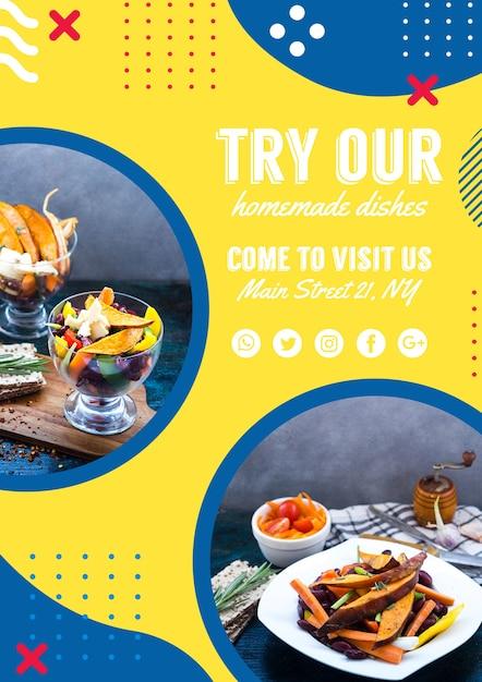 Flyer vorlage für restaurant in memphis stil Kostenlosen PSD