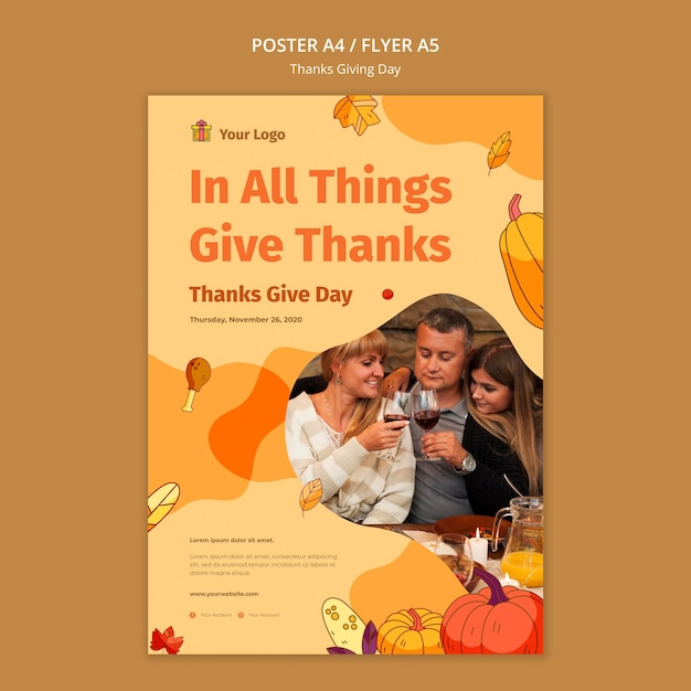 Flyer vorlage für thanksgiving-feier Kostenlosen PSD