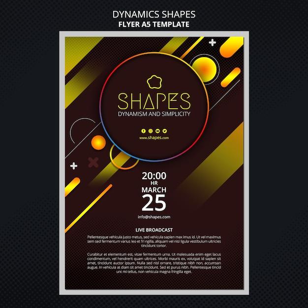 Flyer vorlage mit dynamischen geometrischen neonformen Kostenlosen PSD