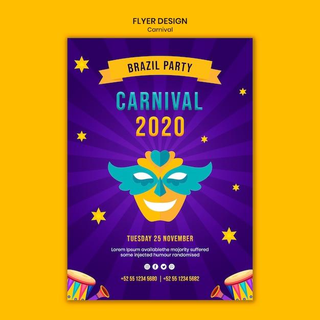 Flyer vorlage mit karneval thema Kostenlosen PSD