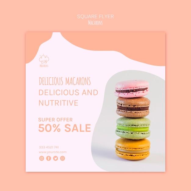 Flyer vorlage mit macarons konzept Kostenlosen PSD