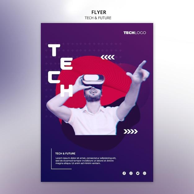 Flyer vorlage mit technologie-design Kostenlosen PSD