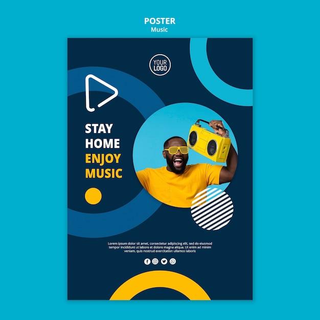 Flyer zum genießen von musik während der quarantäne Kostenlosen PSD