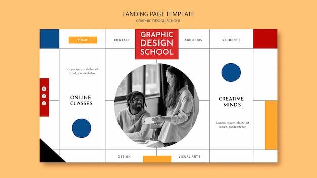Folgen sie der landingpage des grafikdesignkurses Kostenlosen PSD