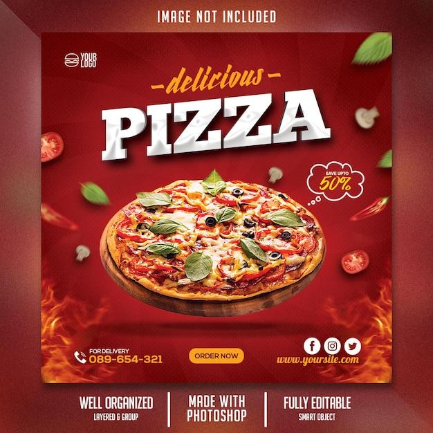 Food flyer vorlage mit pizza-thema Premium PSD